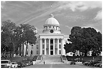 Alabama Capitol and street. Montgomery, Alabama, USA (black and white)
