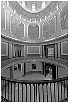 Paintings illustrating the state history below the dome of the capitol. Montgomery, Alabama, USA ( black and white)
