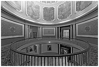 Rotonda below the dome with paintings of historical events. Montgomery, Alabama, USA (black and white)