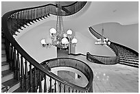 Freestanding circular stairway, state capitol. Montgomery, Alabama, USA (black and white)