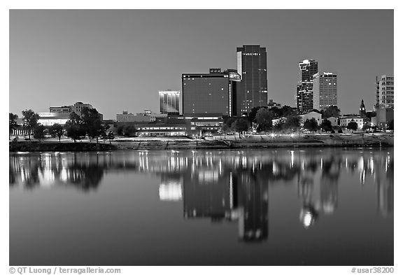 Skyline and Arkansas River at twilight. Little Rock, Arkansas, USA