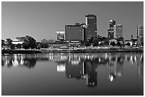 Skyline and Arkansas River at twilight. Little Rock, Arkansas, USA (black and white)