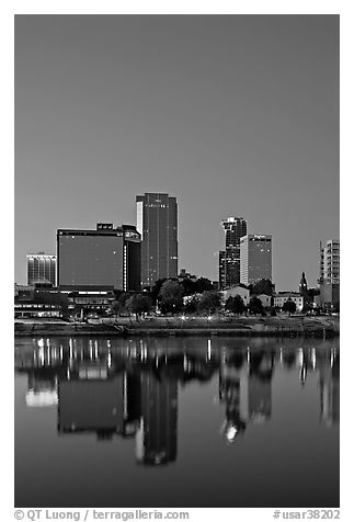 Downtown buidings and Arkansas River at twilight. Little Rock, Arkansas, USA (black and white)