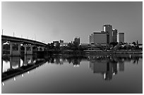 Bridge and skyline at dawn. Little Rock, Arkansas, USA ( black and white)