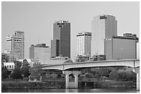 Bridge and Downtown buidings at dawn. Little Rock, Arkansas, USA (black and white)