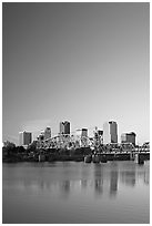 Downtown skyline and Arkansas River at sunrise. Little Rock, Arkansas, USA (black and white)