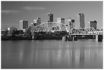 Arkansas River and skyline, early morning. Little Rock, Arkansas, USA (black and white)