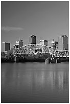 Arkansas River, bridge and skyline, early morning. Little Rock, Arkansas, USA (black and white)