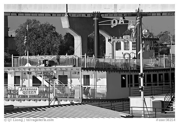 Decks of riverboat Arkansas Queen. Little Rock, Arkansas, USA (black and white)