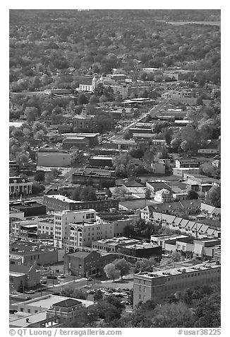 City main street seen from above. Hot Springs, Arkansas, USA (black and white)