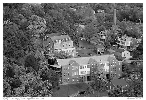 Historic buildings and smokestack from above. Hot Springs, Arkansas, USA (black and white)