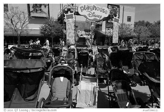 Strollers parked, Walt Disney World. Orlando, Florida, USA (black and white)