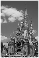The Cinderella Castle, centerpiece of Magic Kingdom Theme Park. Orlando, Florida, USA (black and white)