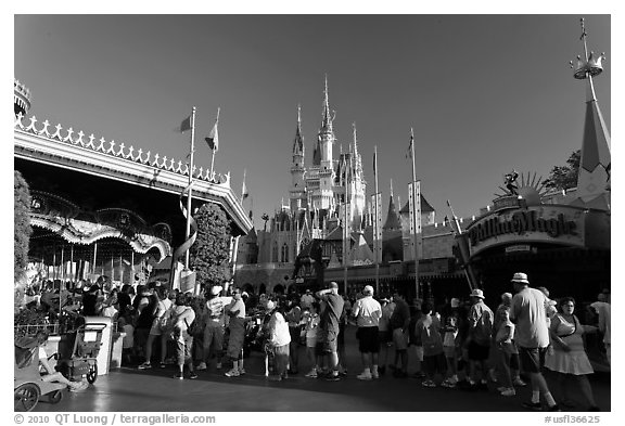 People lining up, Magic Kingdom, Walt Disney World. Orlando, Florida, USA (black and white)
