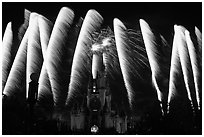 Cinderella Castle with fireworks. Orlando, Florida, USA (black and white)