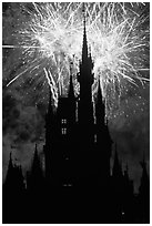 Cinderella Castle at night with fireworks in sky. Orlando, Florida, USA (black and white)