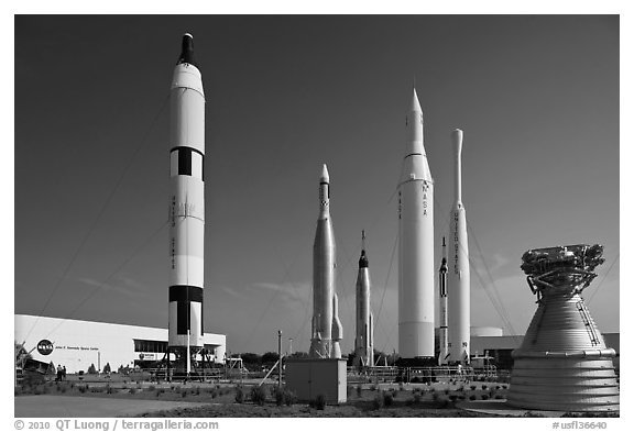 Saturn Rockets, John F. Kennedy Space Center. Cape Canaveral, Florida, USA (black and white)