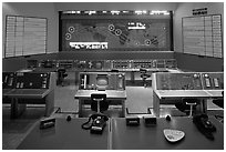 Control room, NASA, Kennedy Space Center. Cape Canaveral, Florida, USA ( black and white)