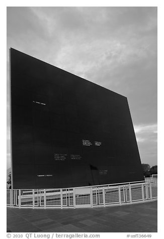 Space Mirror (Astraunot) Memorial, John Kennedy Space Center. Cape Canaveral, Florida, USA (black and white)