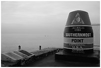 Marker for Southermost point in continental US. Key West, Florida, USA ( black and white)