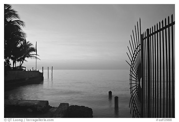 Sunrise near  Southermost point in the continental US. Key West, Florida, USA (black and white)