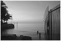 Sunrise near  Southermost point in the continental US. Key West, Florida, USA ( black and white)