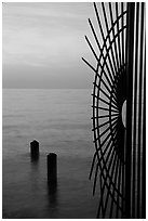 Grid at sunrise and ocean. Key West, Florida, USA ( black and white)