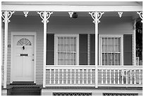 Pastel-colored pink porch. Key West, Florida, USA ( black and white)