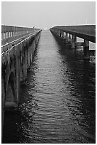 Old and new Seven-mile bridges. The Keys, Florida, USA ( black and white)