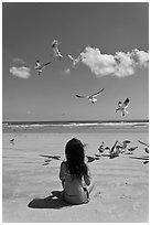 Girl sitting on beach with birds flying, Jetty Park. Cape Canaveral, Florida, USA ( black and white)