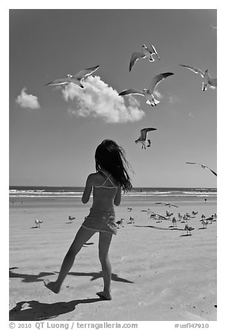 Girl playing with seabirds, Jetty Park beach. Cape Canaveral, Florida, USA (black and white)
