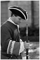 Period dressed Spanish soldier. St Augustine, Florida, USA (black and white)