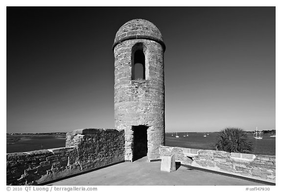 Bell Tower, Castillo de San Marcos National Monument. St Augustine, Florida, USA (black and white)