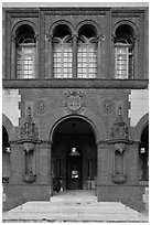 Spanish Renaissance style doorway, Ponce de Leon Hotel. St Augustine, Florida, USA (black and white)