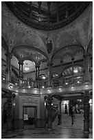 Lobby and rotunda, Flagler College. St Augustine, Florida, USA (black and white)