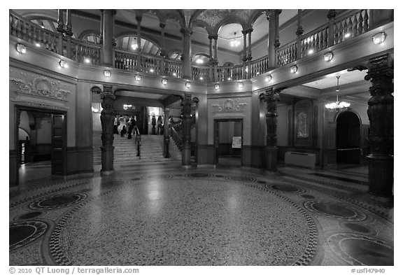Lobby inside former Ponce de Leon Hotel, Flagler College. St Augustine, Florida, USA (black and white)