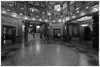 Lobby inside former Ponce de Leon Hotel, Flagler College. St Augustine, Florida, USA ( black and white)
