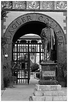 Statue of Henry Flagler and entrance to Flagler College. St Augustine, Florida, USA (black and white)