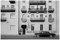 Classic car and hotel facade. St Augustine, Florida, USA ( black and white)