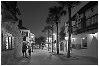 Historic street with palm trees and old buidlings. St Augustine, Florida, USA ( black and white)