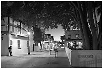 historic Spanish Colonial Quarter by night. St Augustine, Florida, USA ( black and white)