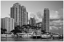 Marina and high rise buildings at sunset, Miami Beach. Florida, USA ( black and white)