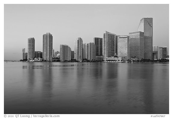 Downtown skyline at dawn, Miami. Florida, USA (black and white)