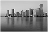Downtown skyline at dawn, Miami. Florida, USA ( black and white)