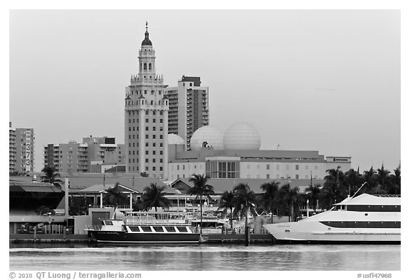 Miami Waterfront and Freedom Tower at dawn. Florida, USA (black and white)