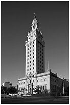 Freedom Tower, memorial to Cuban immigration, Miami. Florida, USA (black and white)