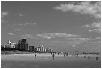 South Beach, early morning, Miami Beach. Florida, USA (black and white)