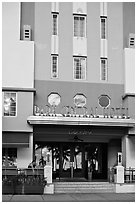 Entrance of Park Central Hotel in Art Deco architecture, Miami Beach. Florida, USA (black and white)
