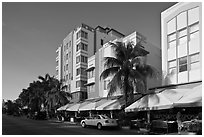 Row of hotels in Art Deco Style, Miami Beach. Florida, USA (black and white)