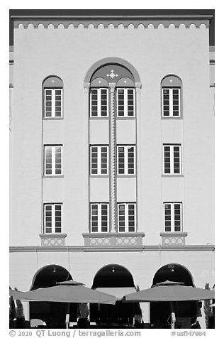 Art Deco hotel facade, Miami Beach. Florida, USA (black and white)
